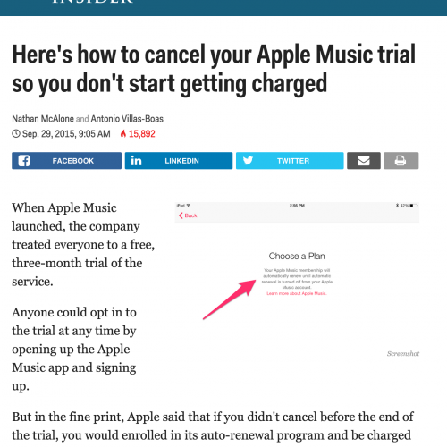 How Bad is Apple Music, when Every website is Helping You Cancel?